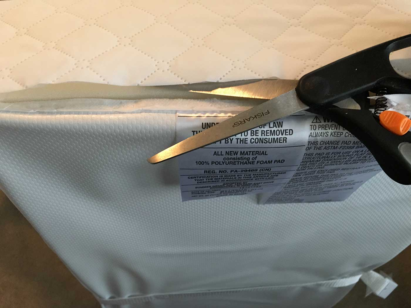 Cut the end off - Easy baby DIY project for a changing table pad for the IKEA SNIGLAR