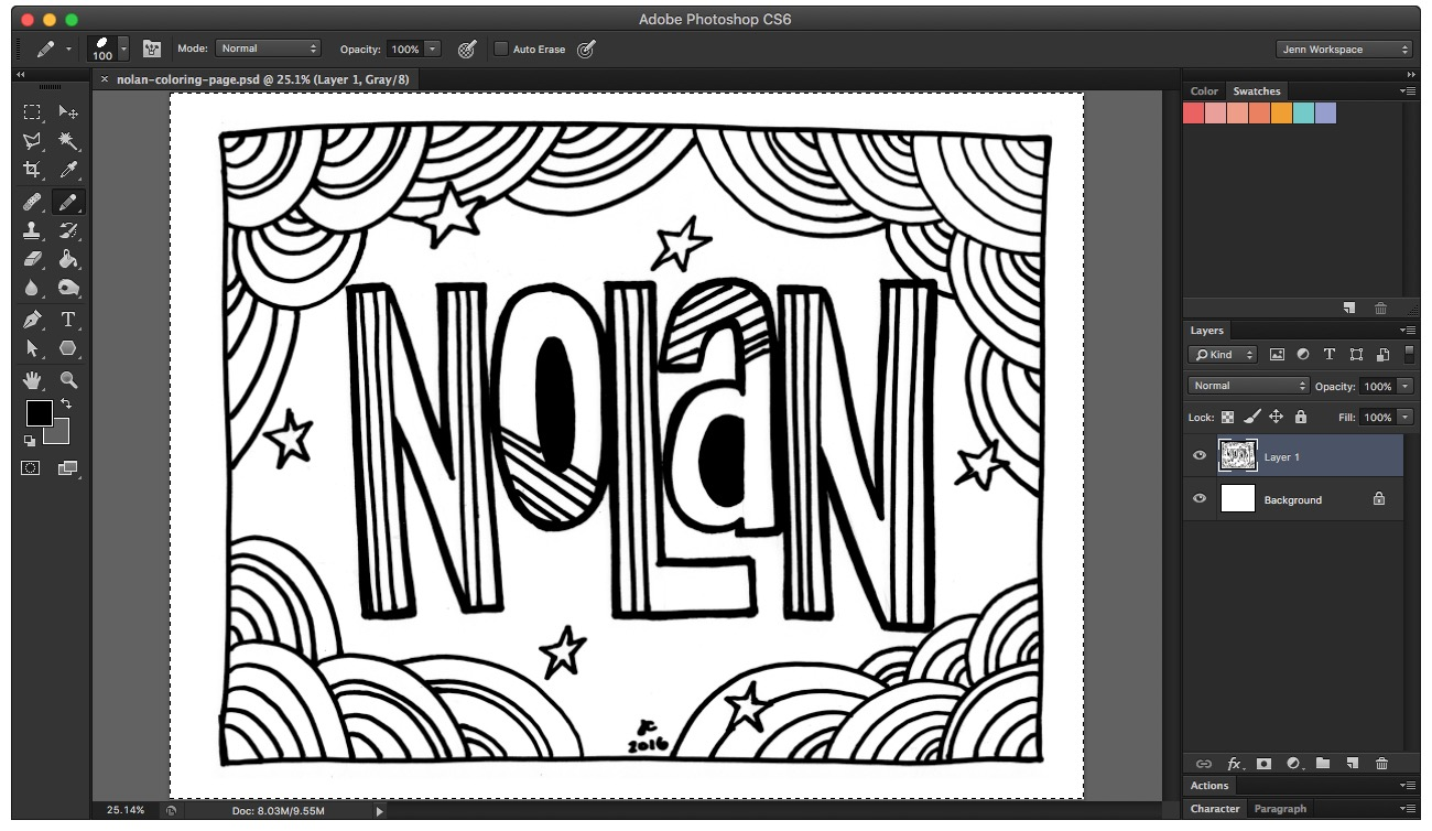 Clean up your coloring book page in Photoshop with the eraser and brush tools