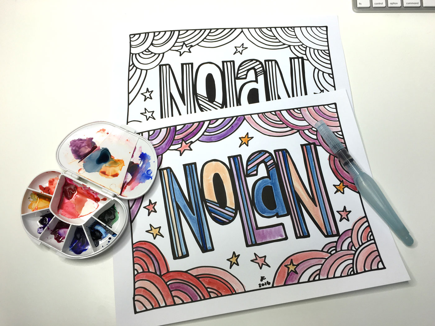 Color in your very own DIY coloring book page with watercolor, crayons, markers, or colored pencil.