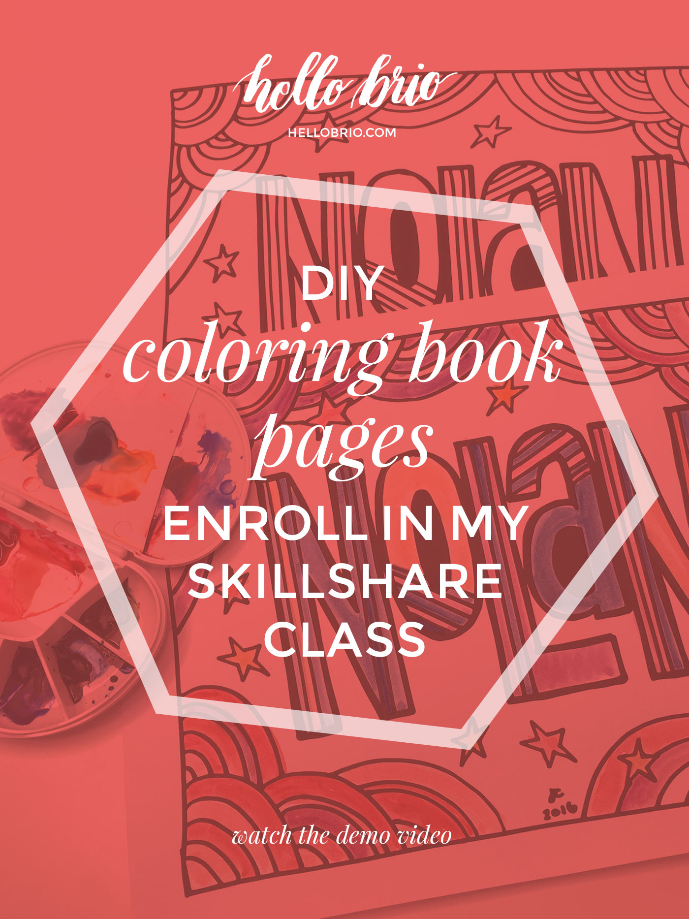 DIY hand lettered coloring book page for relaxation