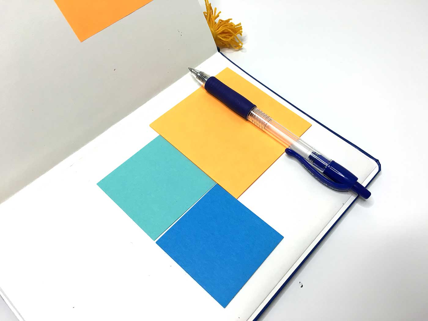 Short stacks of post it notes are a great way to travel with extra paper without having to pack more