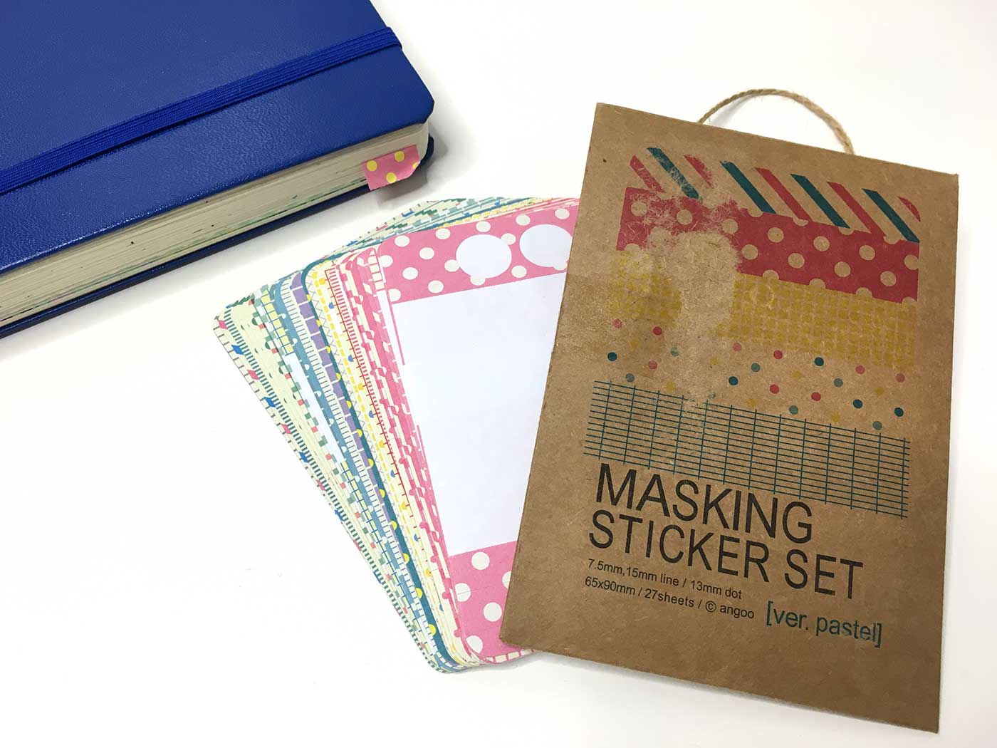 A masking sticker set helps keep you organized and highlight important notes in your bullet journal