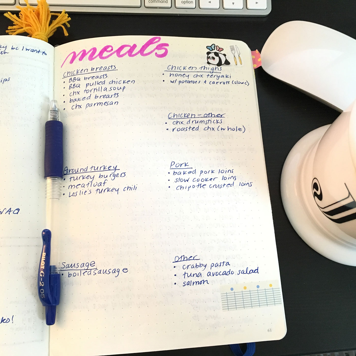 Meal planning with a bullet journal
