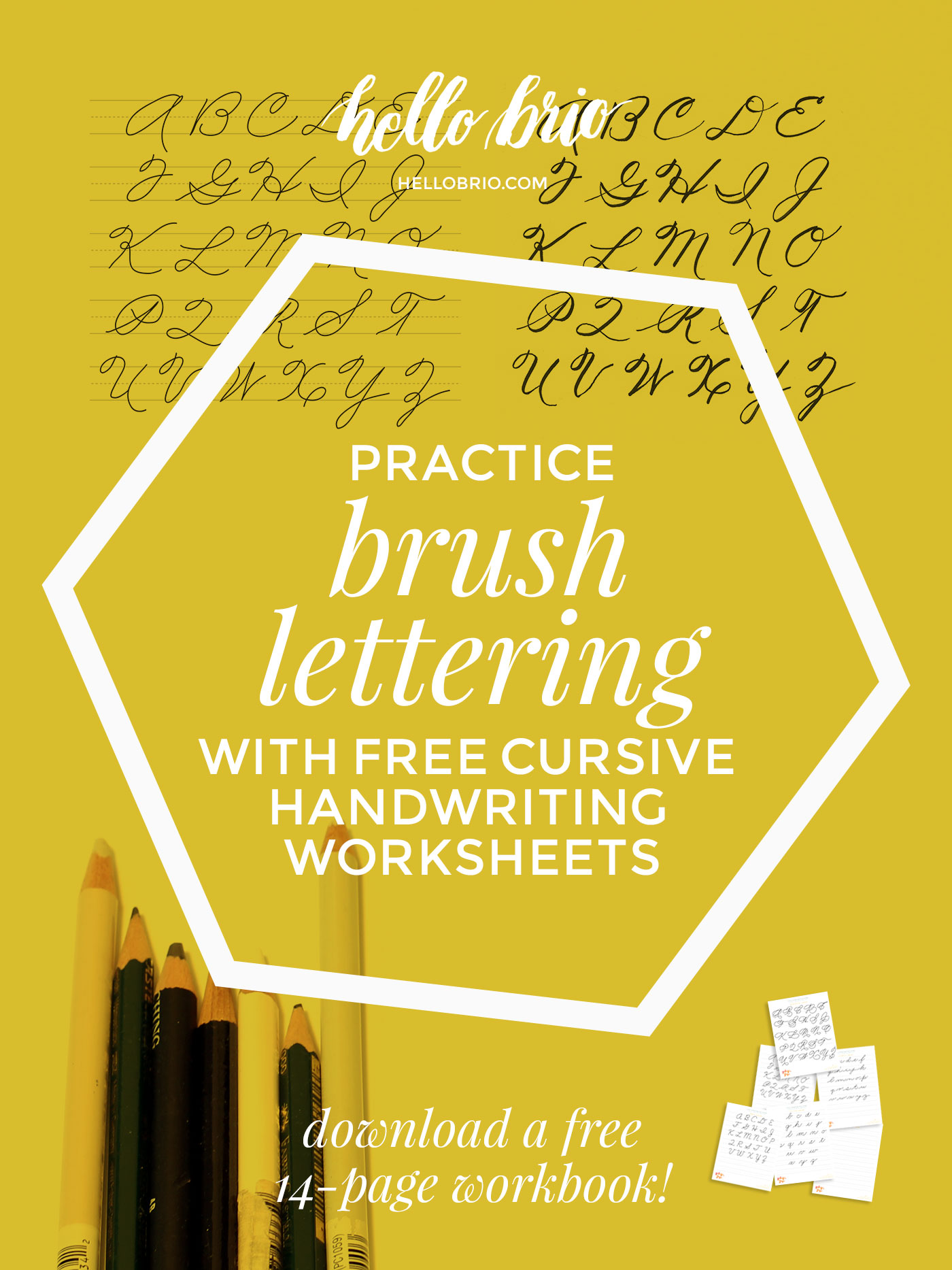 Learn and practice brush lettering with free cursive handwriting worksheets. Develop your personal lettering style by practicing different cursive styles!