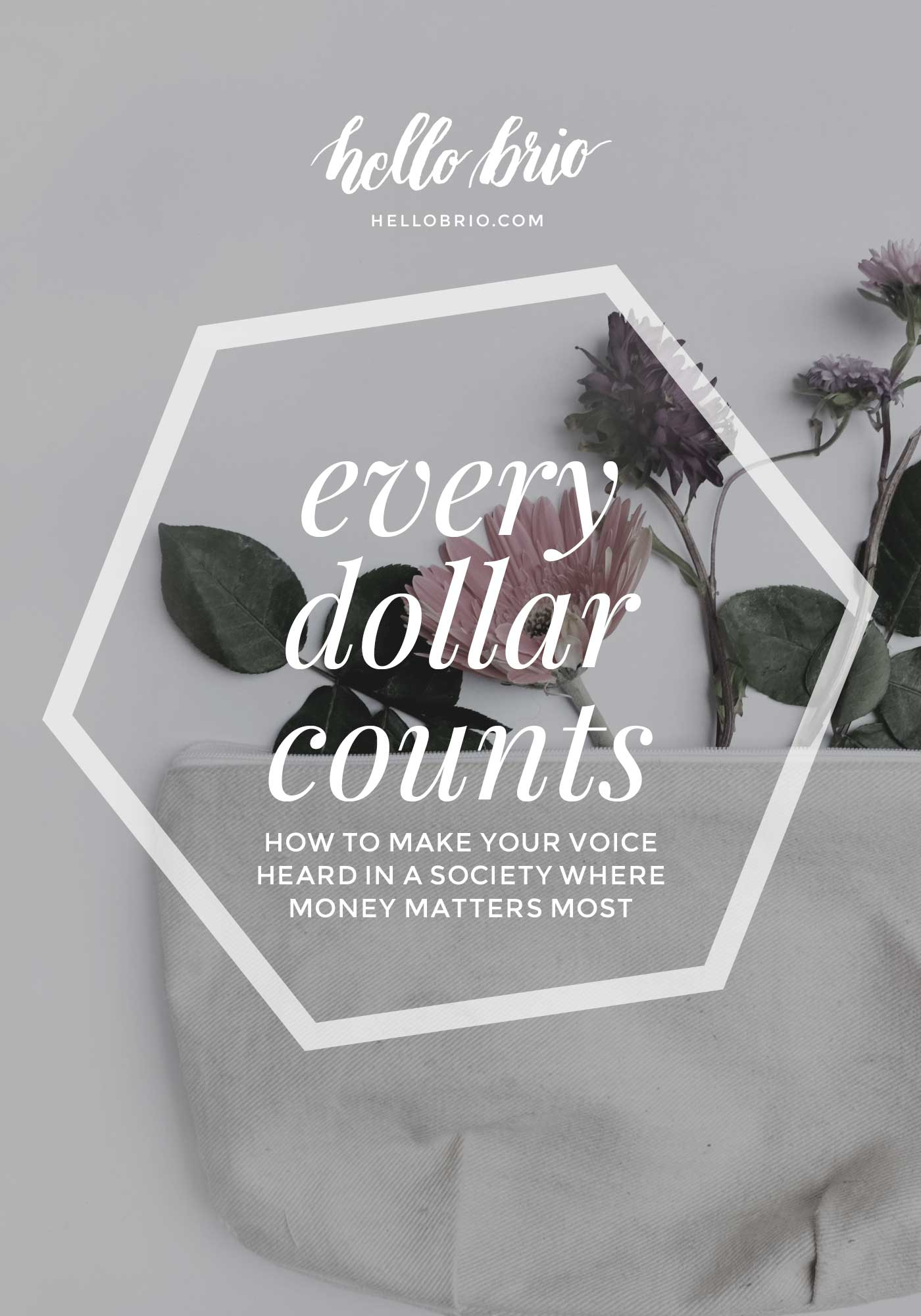 Every dollar counts - how to make your voice heard in a society where money matters most | ethical and conscious consumerism on Hello Brio