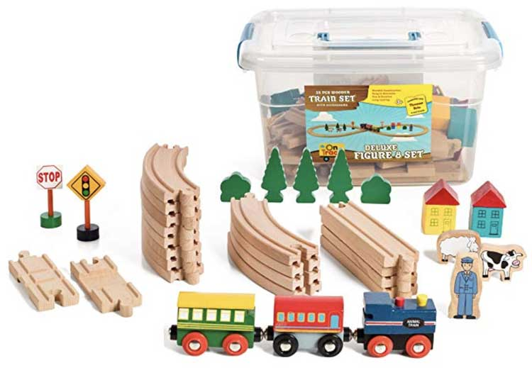 Wooden Train Set Tracks and Accessories - compatible with Melissa and Doug