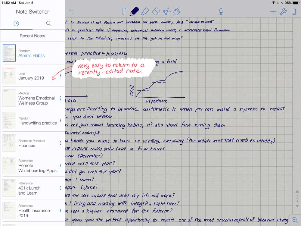 Notability allows for fast switching between notes by swiping in from the left.
