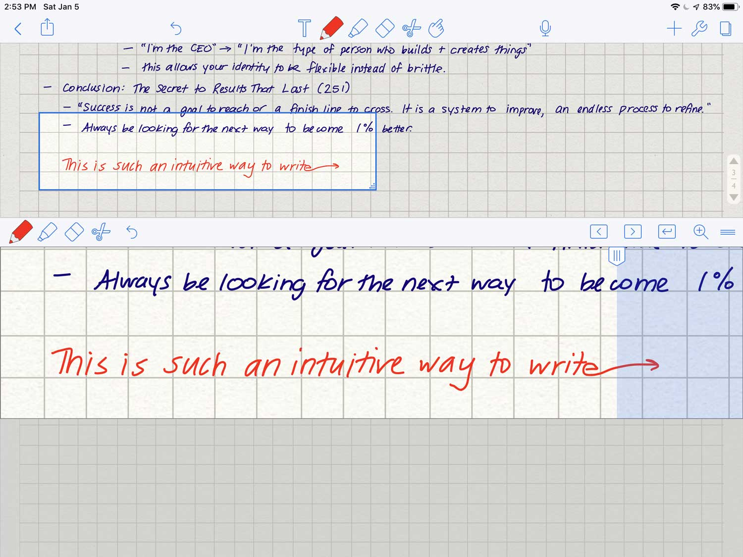 Once you start writing in the blue area to the right and pause for long enough (it's pretty quick), the page will automatically advance to the right or will jump to the next line.