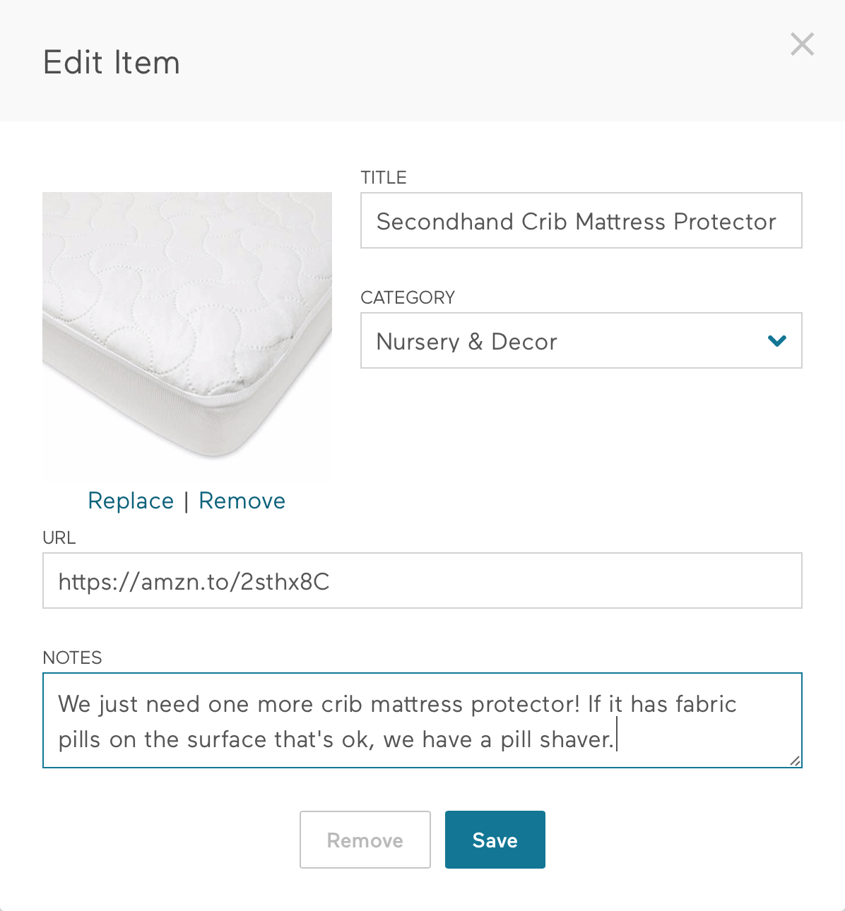 Secondhand baby registry item: Crib mattress protector