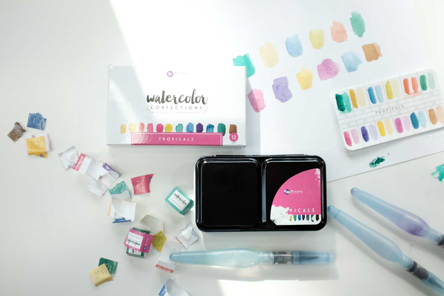 Prima Marketing Tropical Watercolor Confections 12 pan set unboxing video
