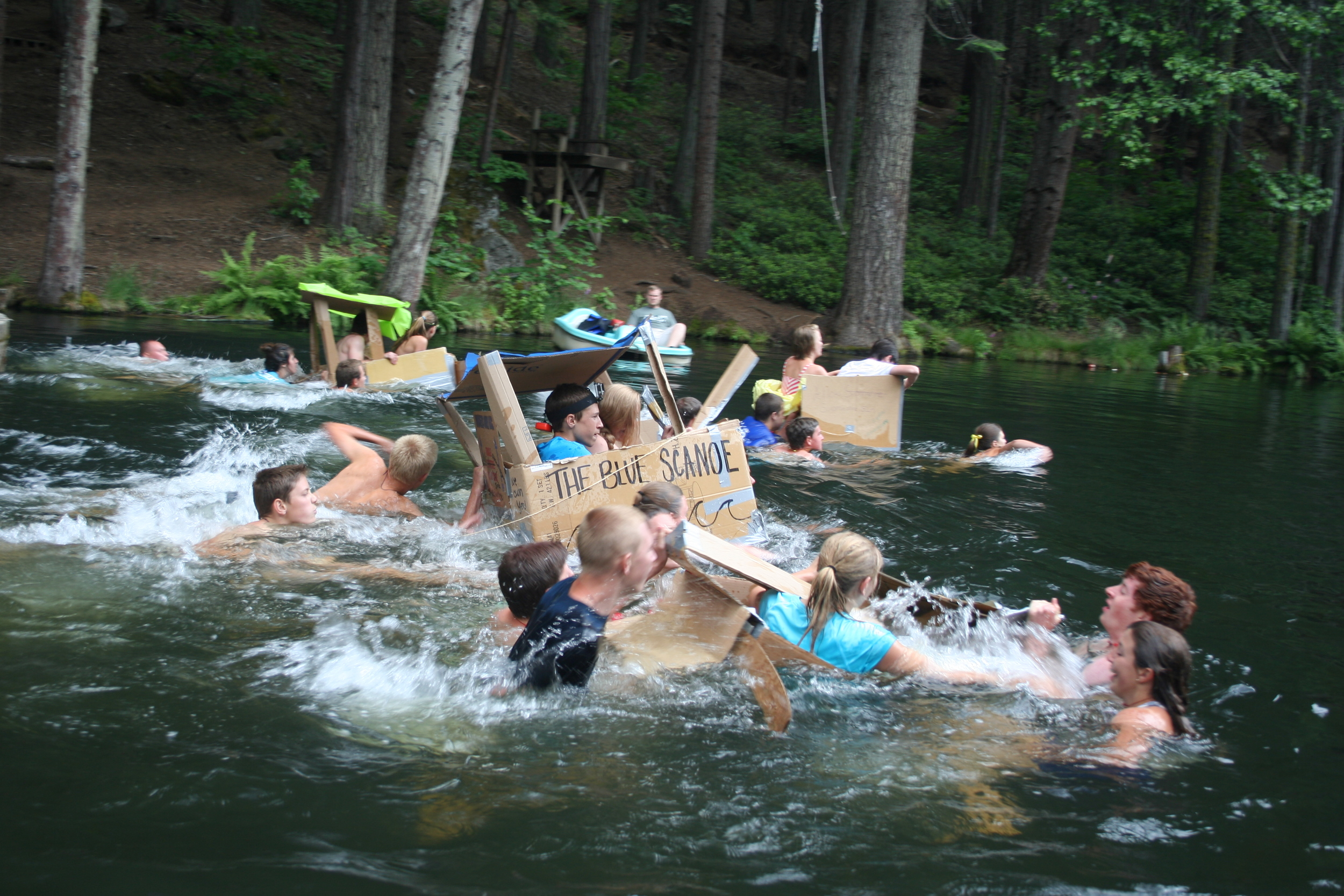 Upper Pond (cardboard boat race)