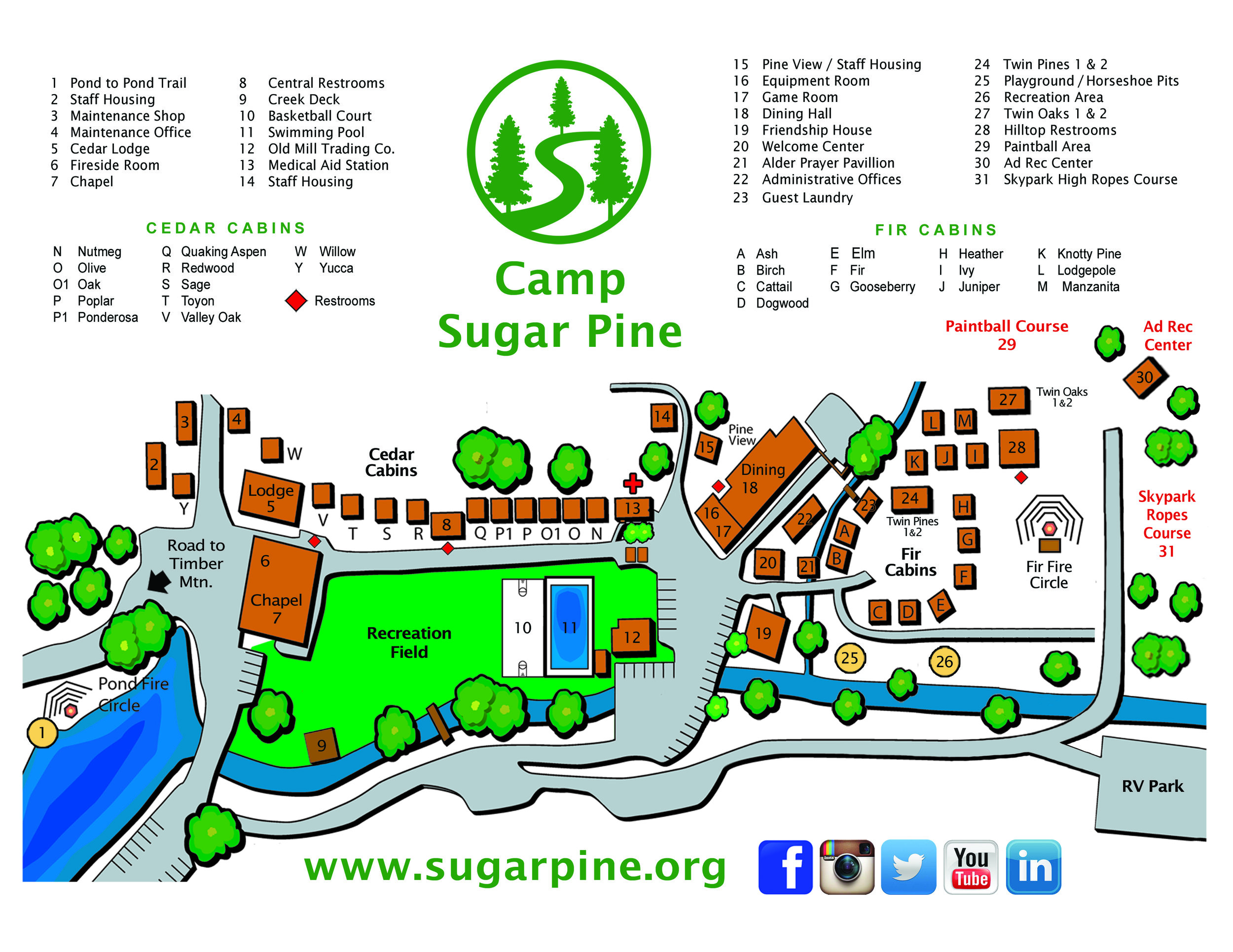 Sugar Pine Christian Camps Map