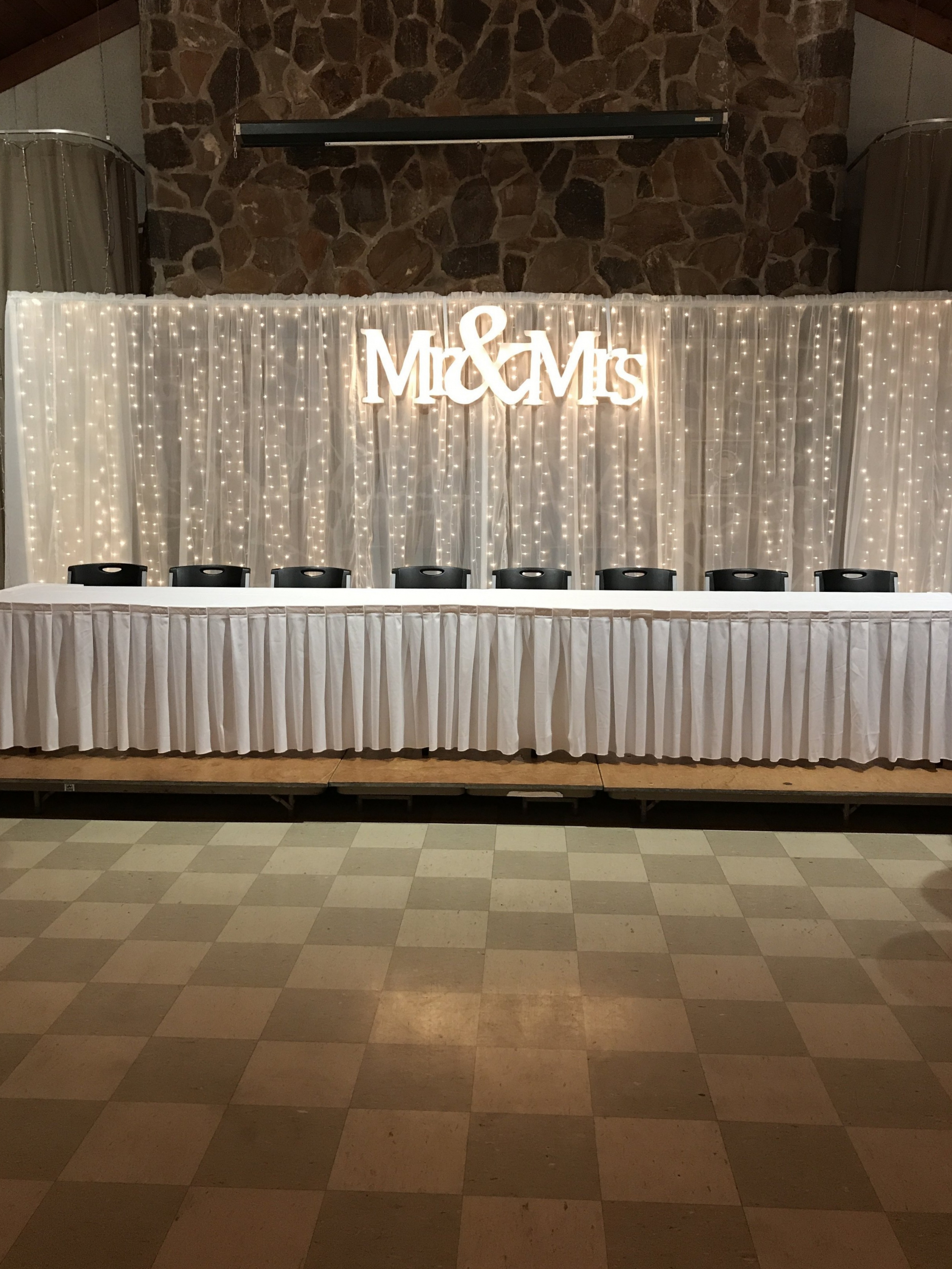 Lighted curtain with Mr. & Mrs. sign