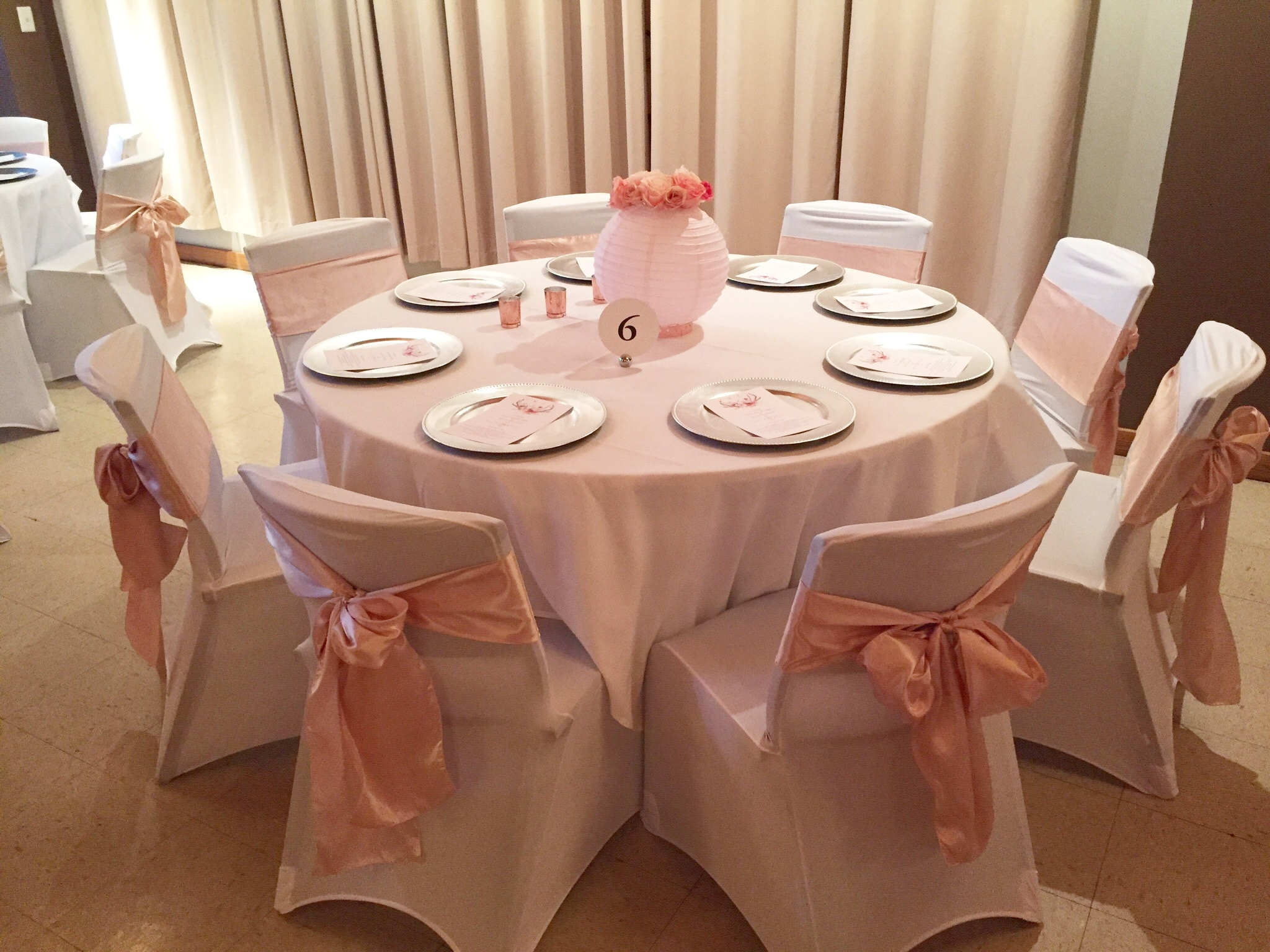 Blush sashes, silver chargers, and white chair covers