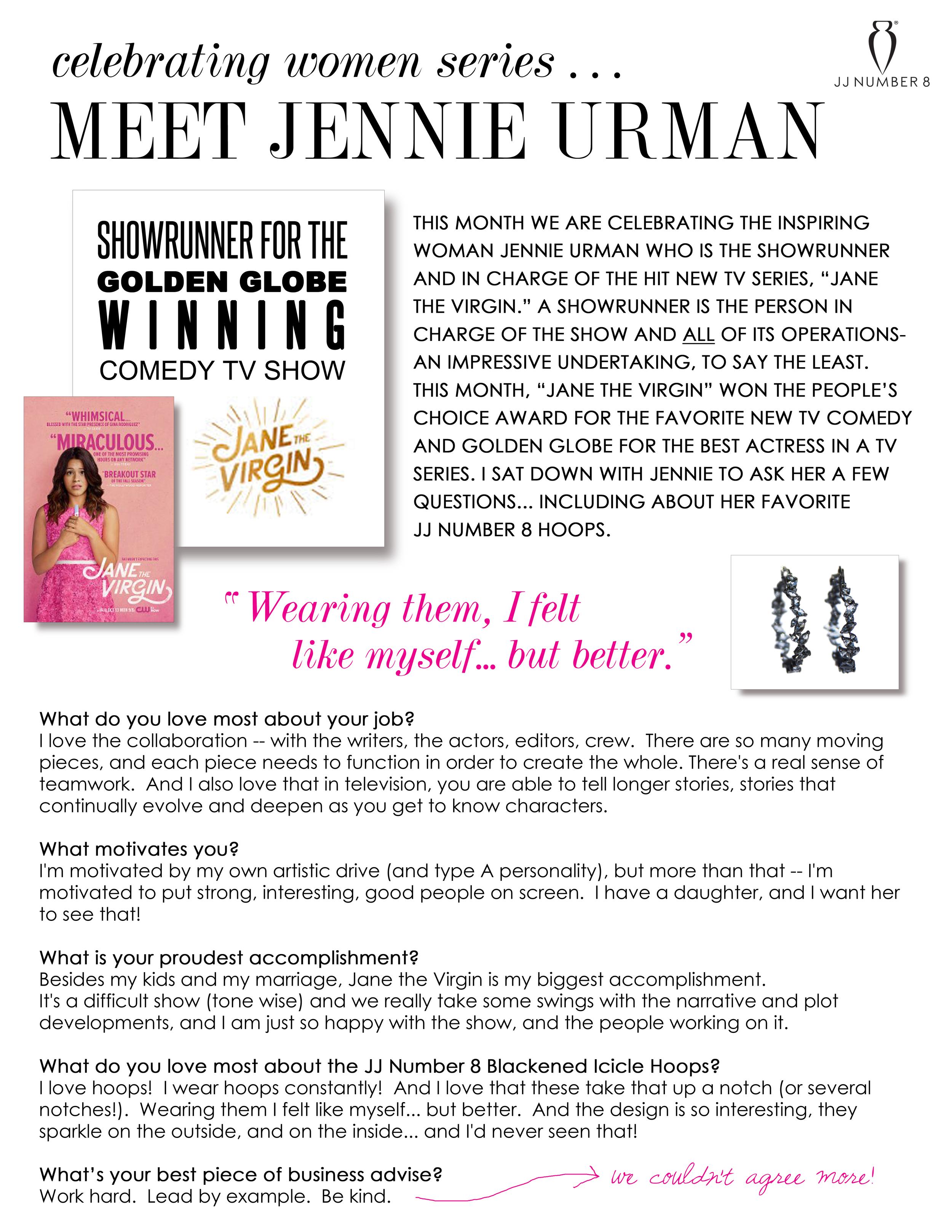 "Celebrating Women Series: Meet Jennie Urman, Showrunner of the hit TV show ""Jane the Virgin"""