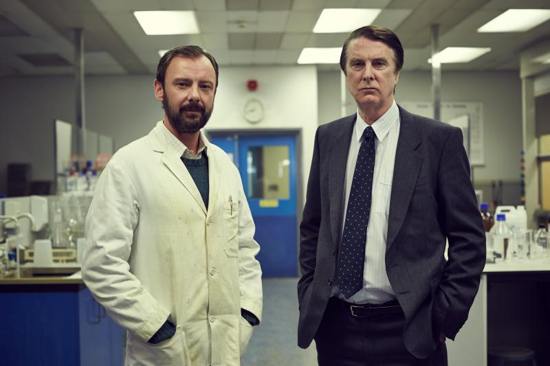 """John Simm (left) and David Threlfall (right) play Professor Sir Alec Jeffreys and Detective Chief Superintendent David Baker, respectively, in the British miniseries """"Code of Killer,"""" which documents the invention of DNA fingerprinting and the technology's first use as a tool to catch criminals. Photo: Courtesy of RLJ Entertainment/Acorn TV"""