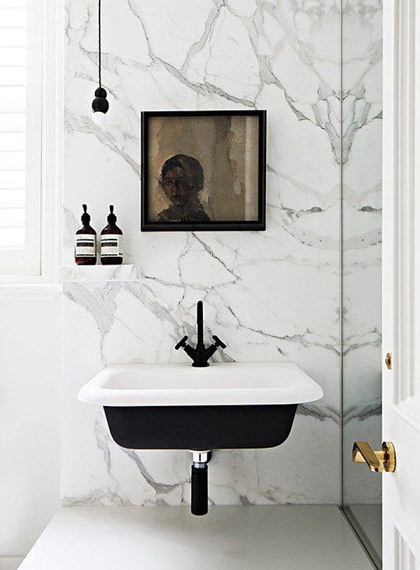 Black bathroom and kitchen fixtures, Hecker Guthrie, Apartment Therapy