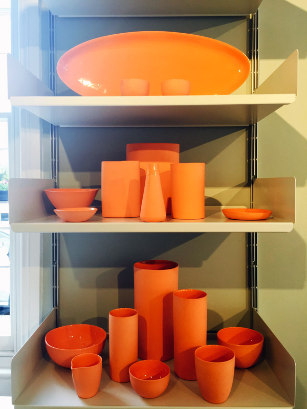 Mud Australia, London Store , orange vases, bowls, plates, homewares, porcelain