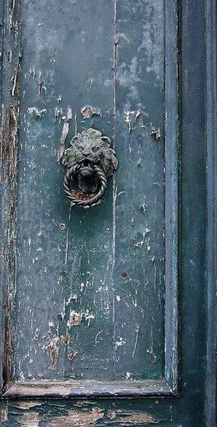 inky blue, door