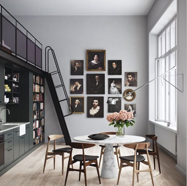 Oscar Properties kitchen, gallery wall, grey, marble table