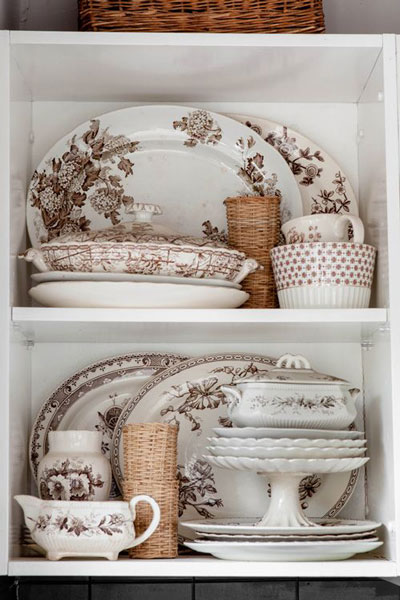 Brown and white Transferware, Design Sponge, Jane Cameron