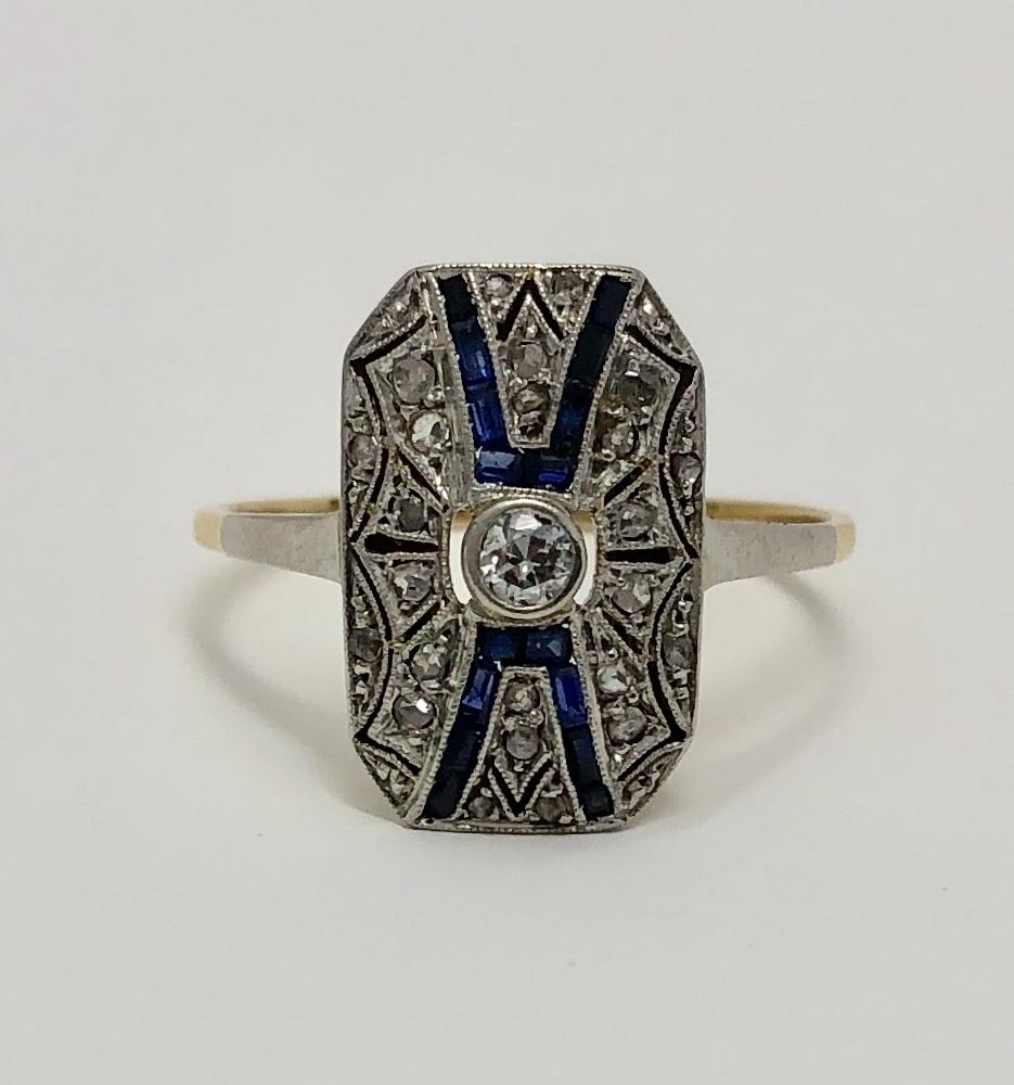 18K Yellow Gold/Platinum Sapphire and Diamond Deco Period Ring