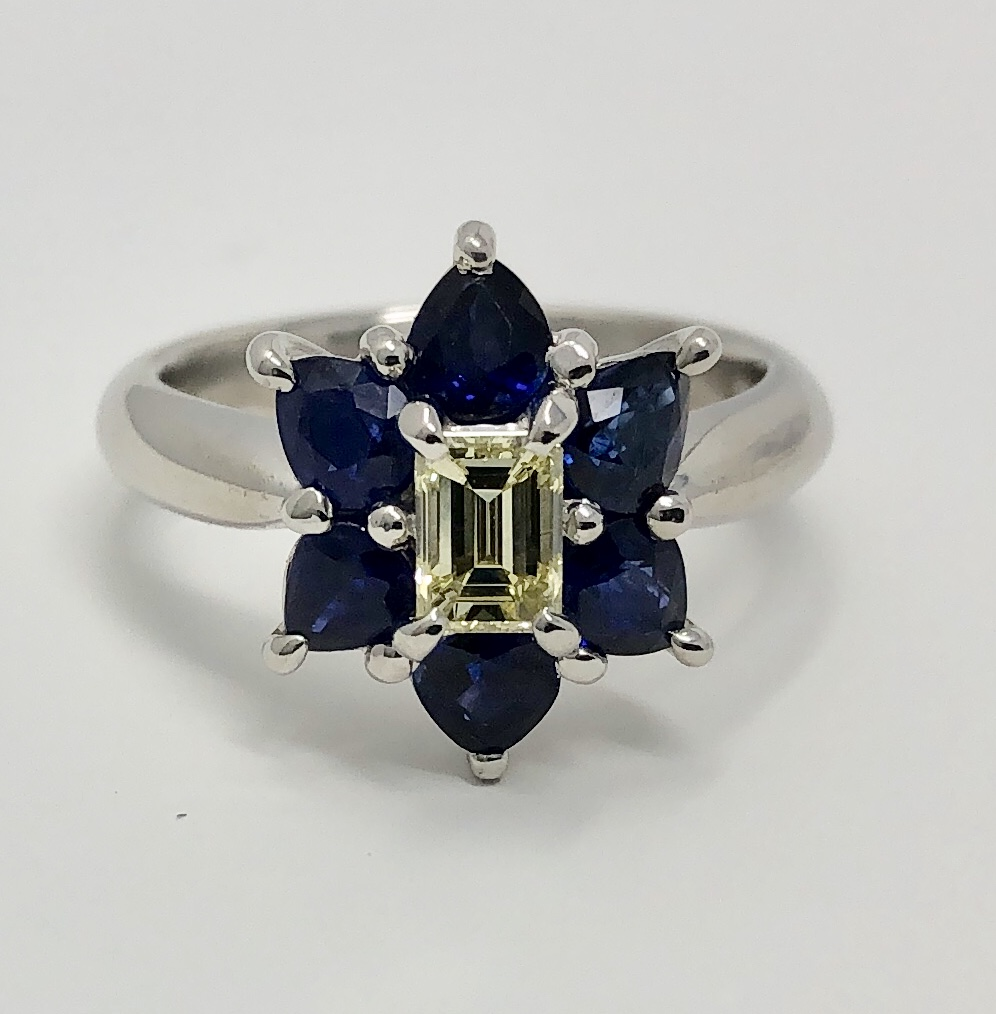 Platinum Yellow Diamond & Blue Sapphire Ring