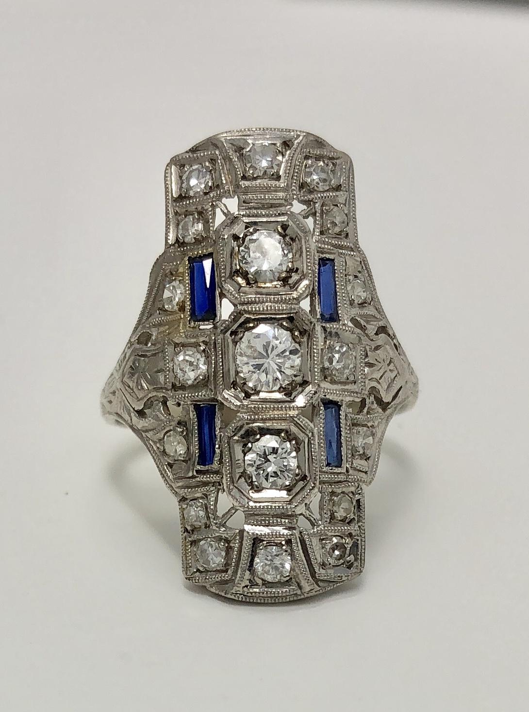 "18K/14K White Gold ""Deco"" Sapphire and Diamond Ring"