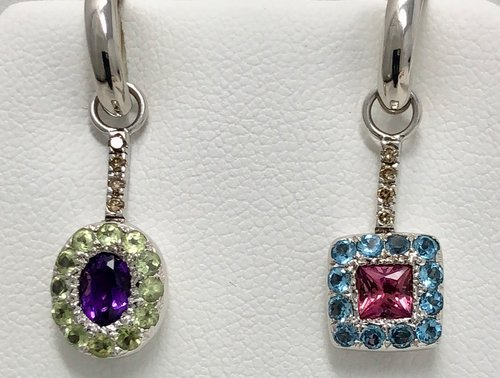 9193df69e Platinum/18K White Gold Amethyst, Peridot, Pink Tourmaline, Topaz Dangle  Earrings