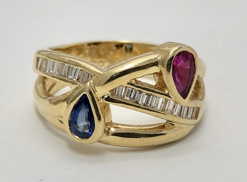 18K Yellow Gold Ruby, Sapphire Diamond Ring