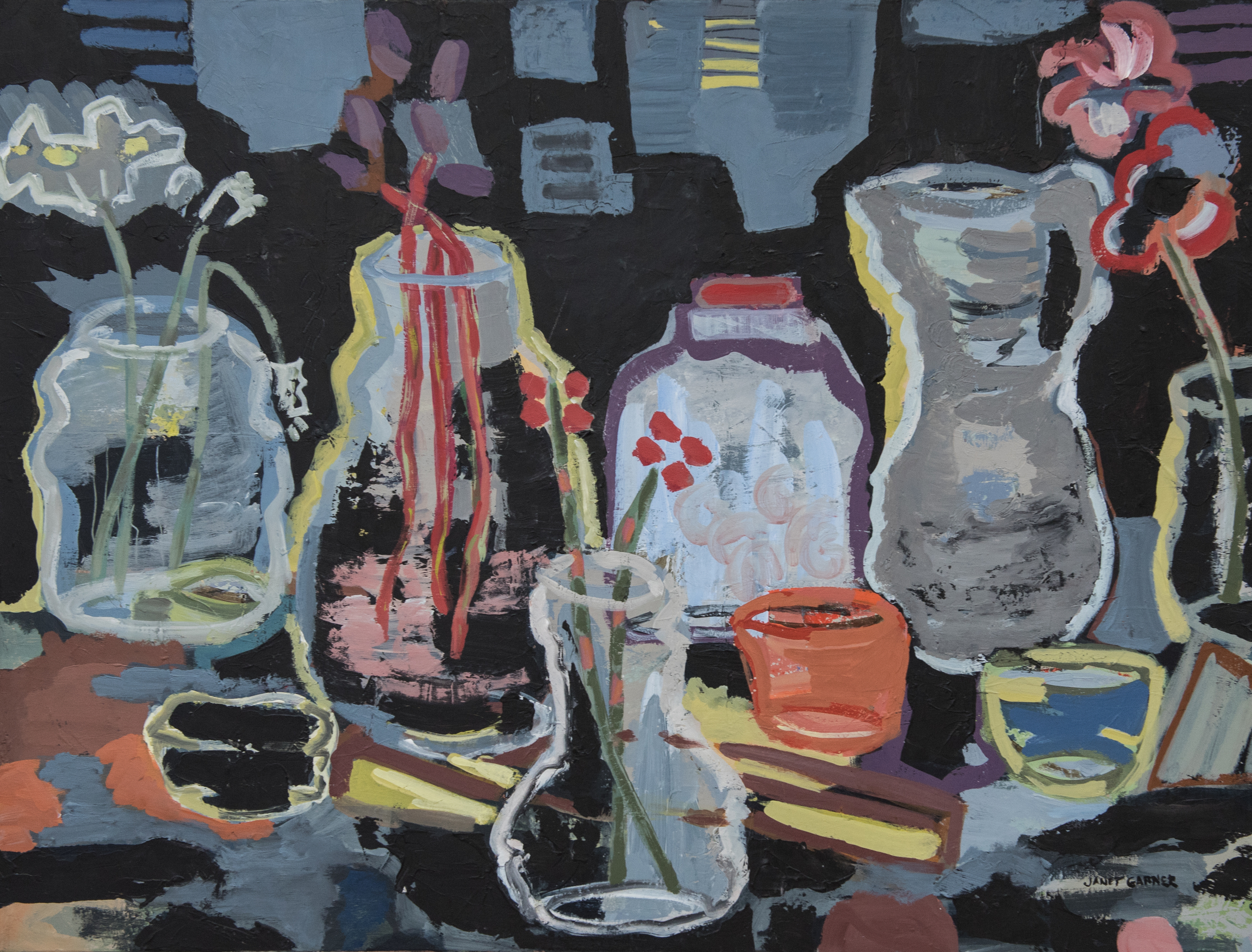 "Vases and Stems, 2015 Acrylic on canvas 30"" x 40"""