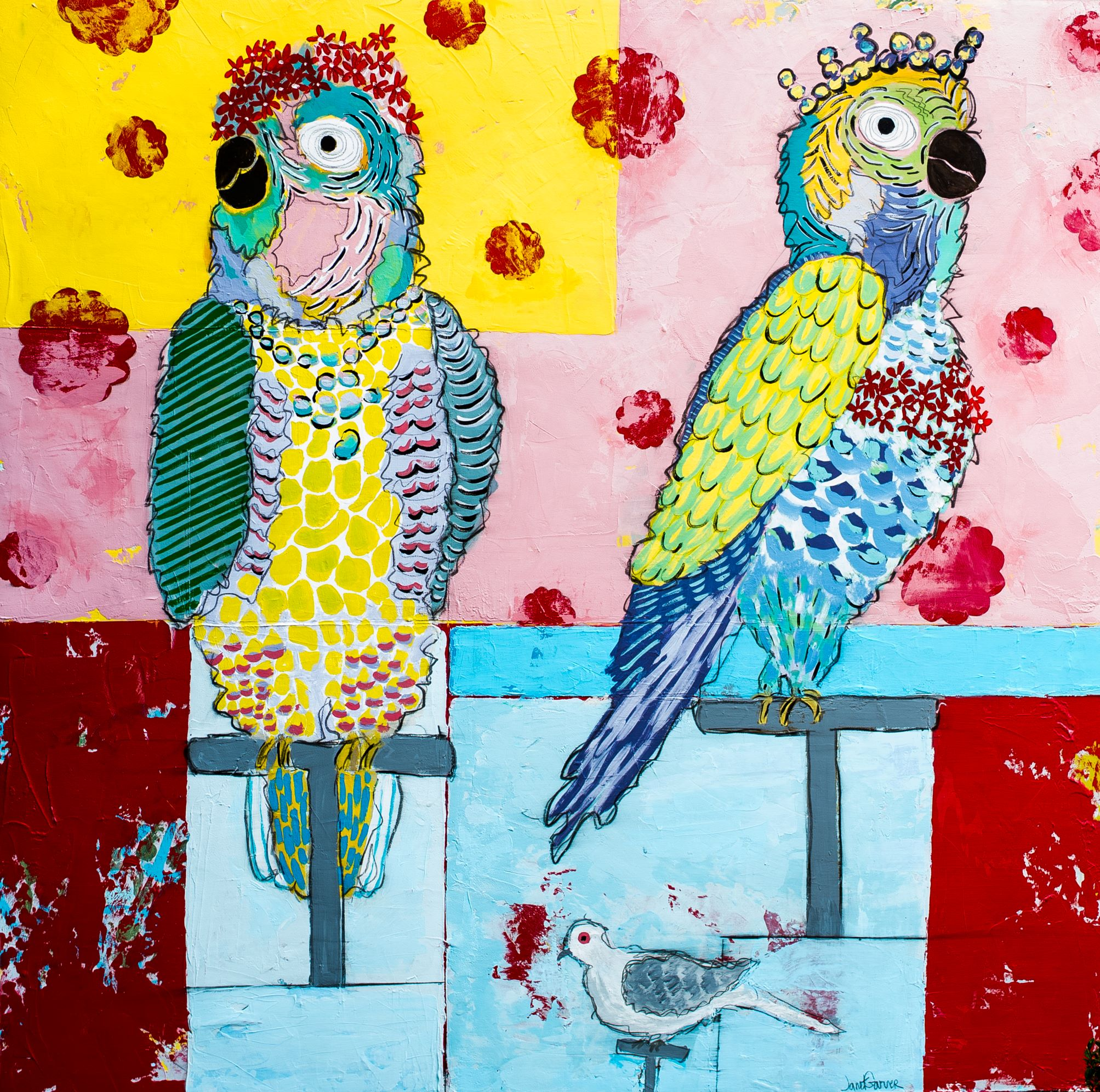 """Two Parrots and A Pigeon, 2017 / Acrylic on canvas / 48"""" x 48"""""""