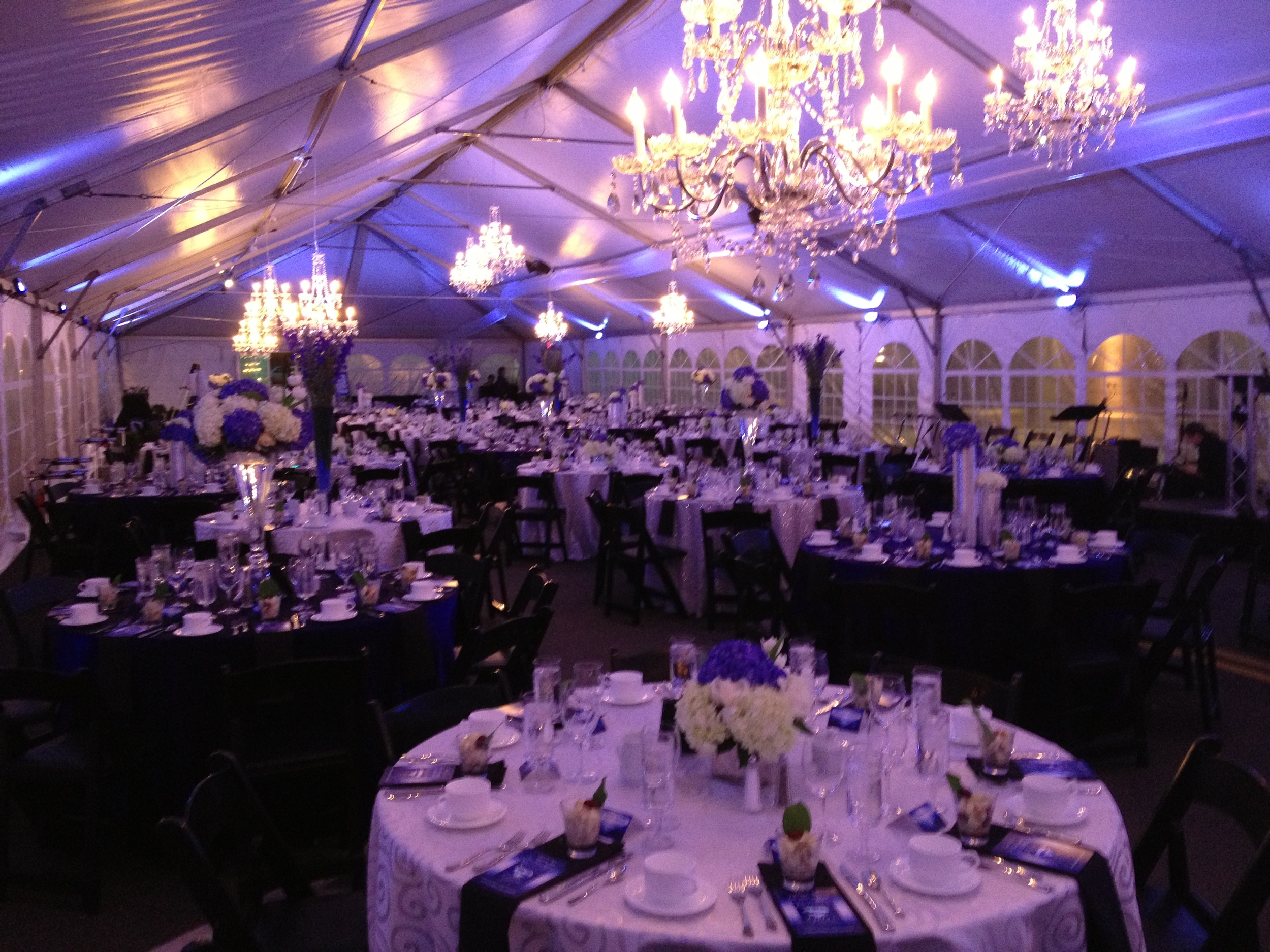 Frame tent transforms a city street into an elegant corporate function.
