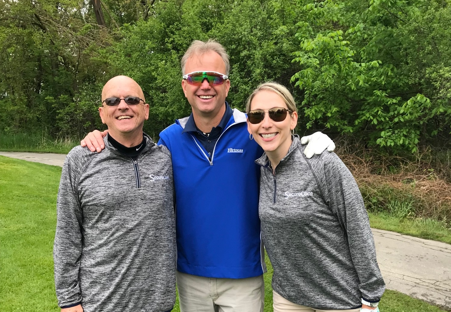 Frank Ross, Mark Wolinski, and Dallas Rau attending the 2018 Frankenmuth Chamber golf event at The Fortress in Frankenmuth.