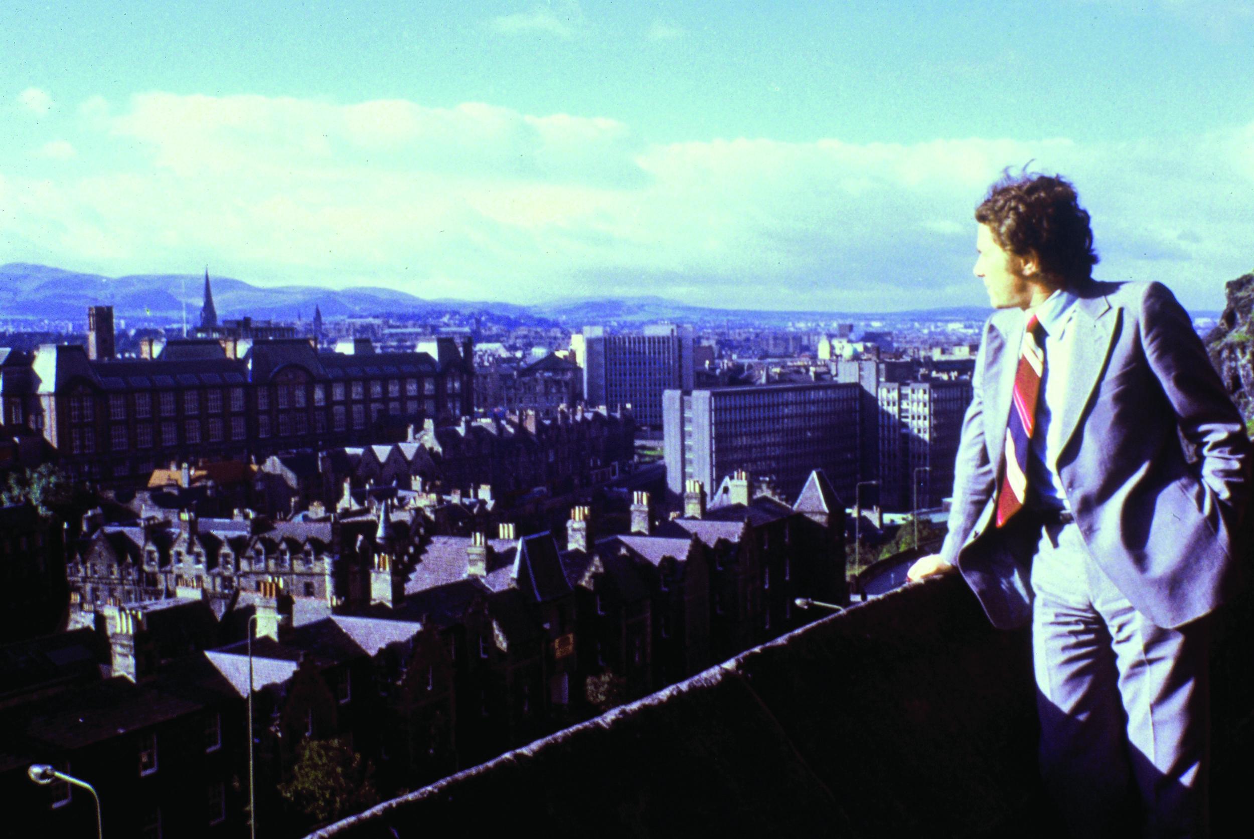 Luis Overlooking Edinburgh, Scotland, 1979