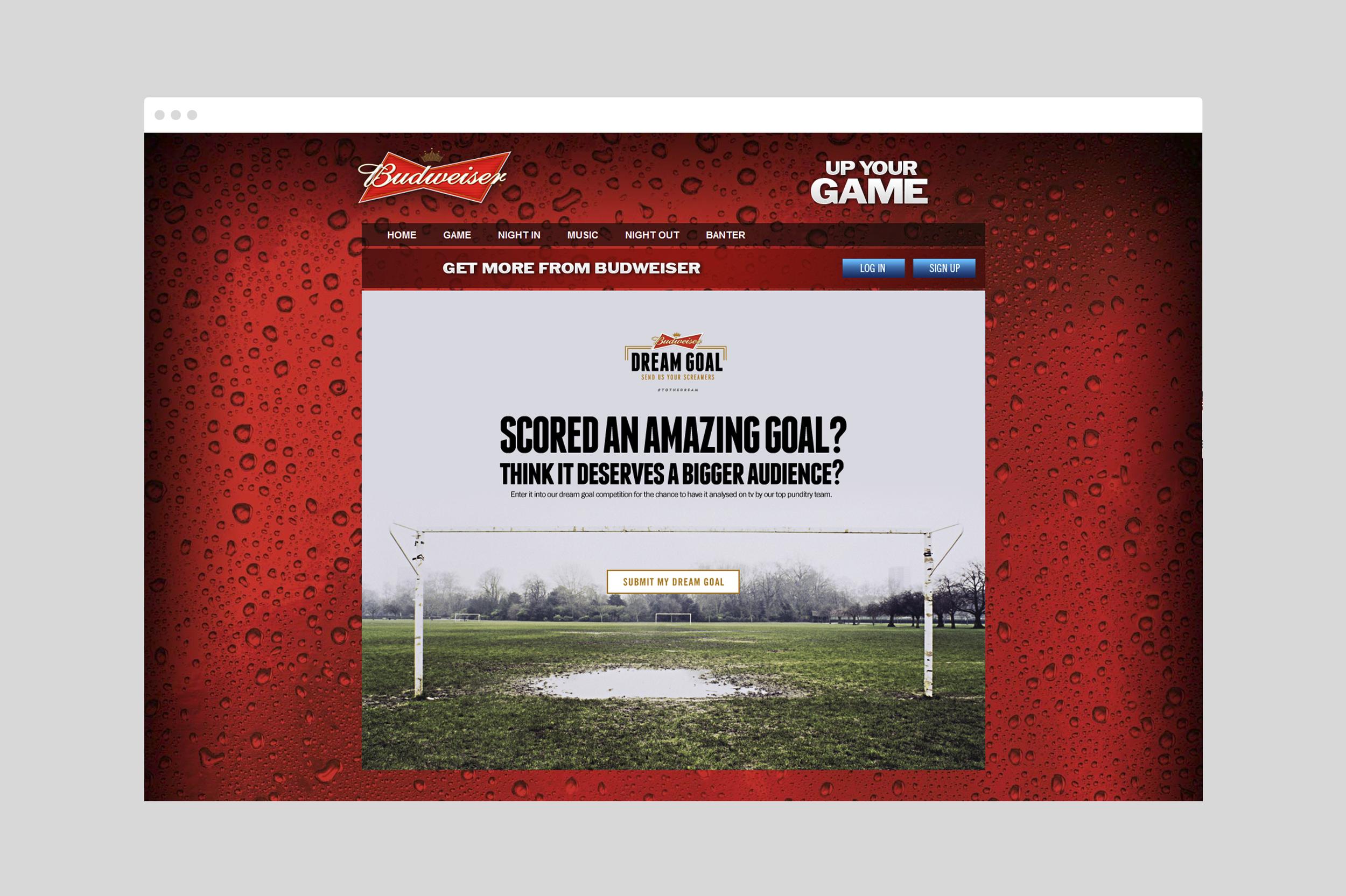 Budweiser Dream Goal Website