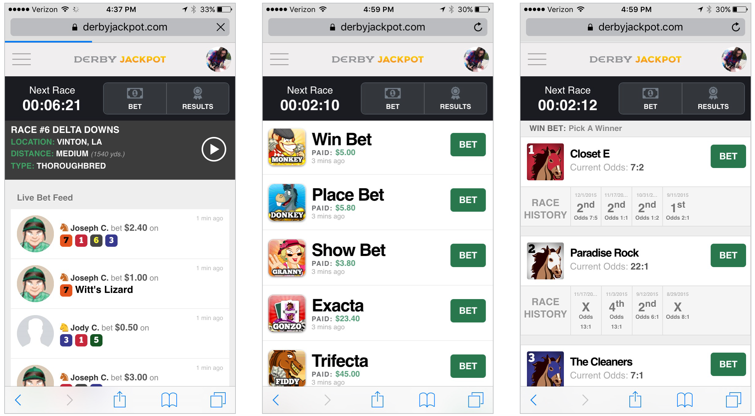 Homepage (far left), bet types page, and Win bet page.