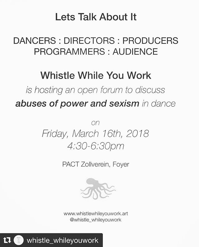 "#Repost @whistle_whileyouwork with @get_repost ・・・ Join us in Essen at the TanzPlattform 2018 on Friday at @pact_zollverein! We'll look at @opencanon / Ilse Gehkiere's excellent work with Engagement Arts in Belgium and what @reasondetredance 's Kathleen Rae is doing to affect the gendered landscape tightly gripped by Canadian Dance institutions.  Let's talk about it in relation to ""German dance"" and see what's up. Join us! . . #letstalkaboutit #tanz #tanzplattform2018 #pact #pactzollverein #germandance #dance #wwyw #womansrsly #guerillagirls @fem_im_pott #feminismusimpott #feminism #feminismus"