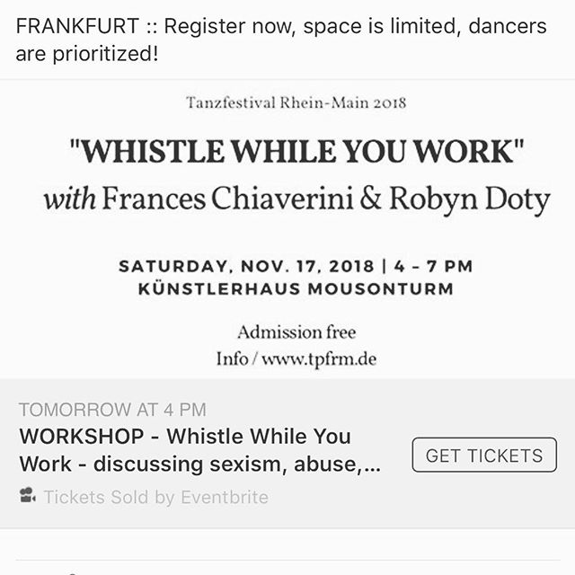 Thanks @tanzplattformrheinmain for programming this workshop with @whistle_whileyouwork !