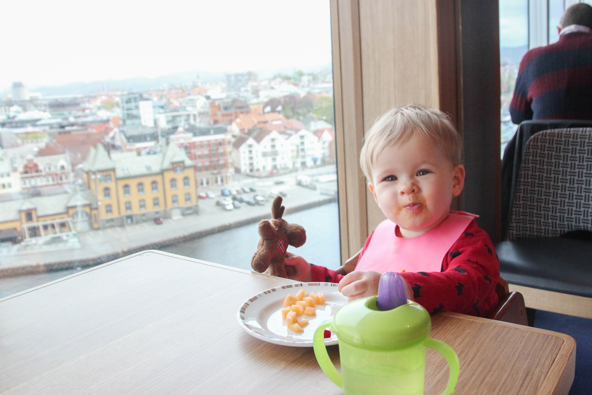 Enjoying some lunch with the city of Stavanger in the background