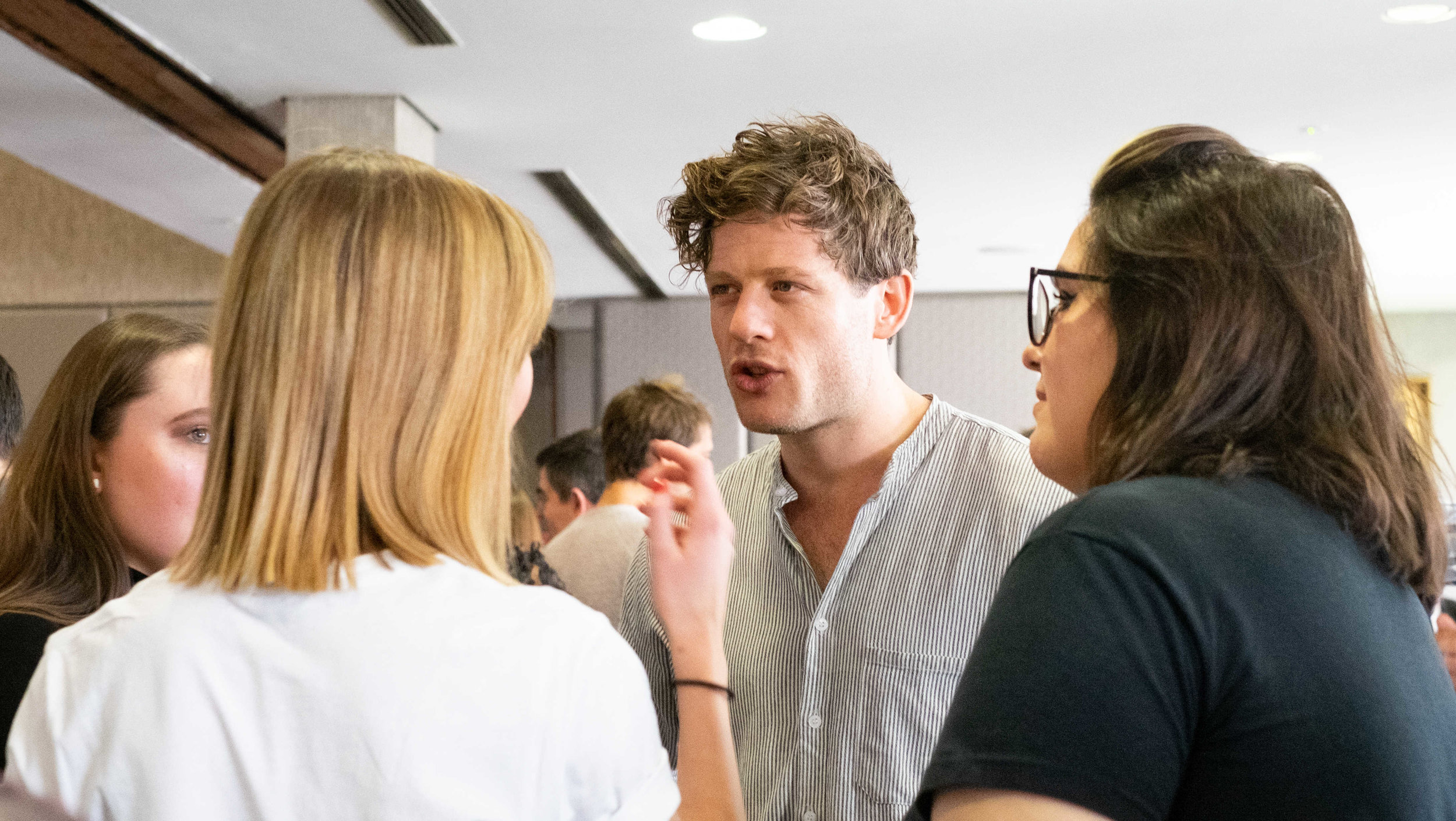 James Norton chatting to guests