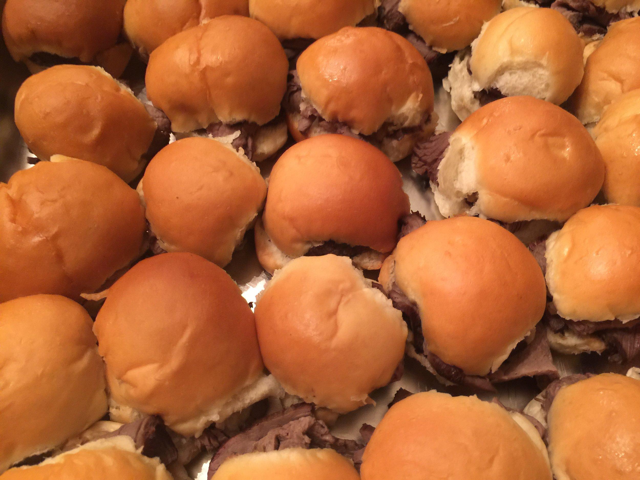 Mini shaved prime rib sandwiches