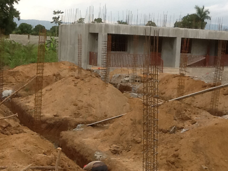 Digging of foundation complete with support rebar posts