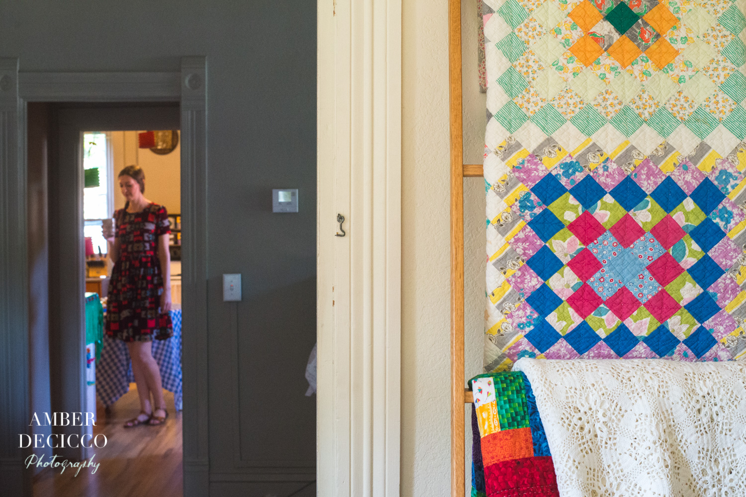 I love this photo! The top quilt was made by her Grandmother and was given to Rachel at her bridal shower. So special!