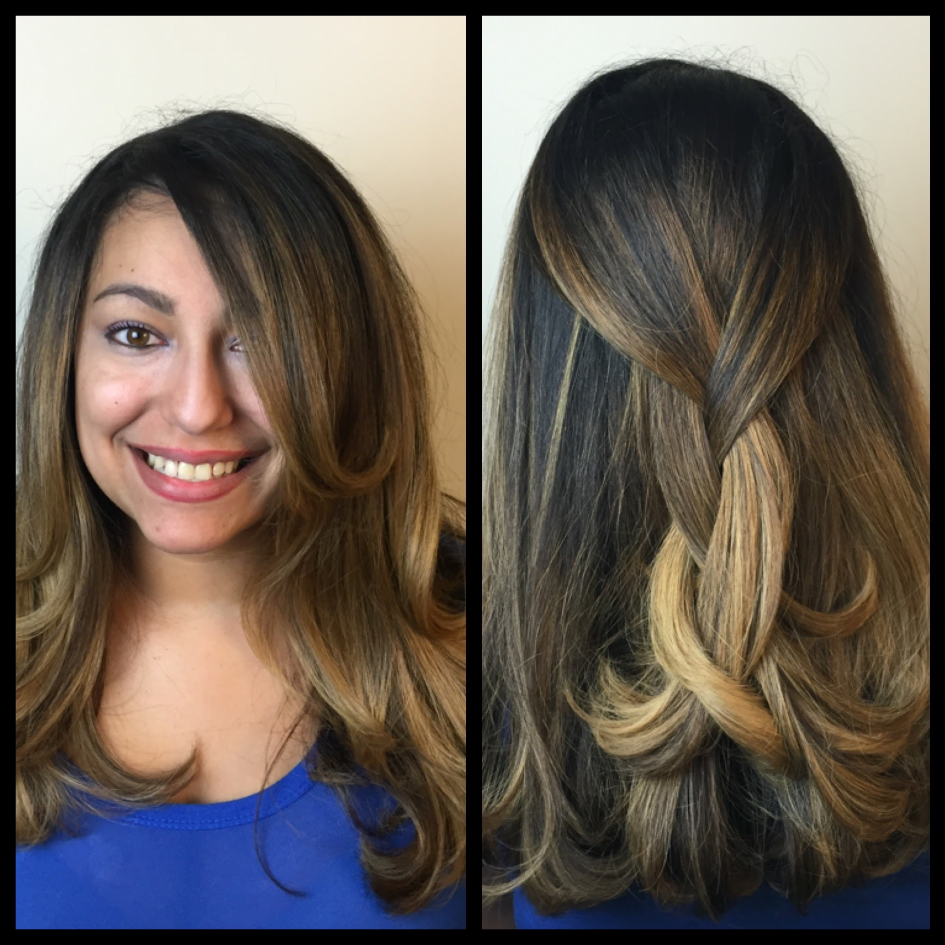"Here is a great example of how low maintenance balayage can be. The last time Jalisa had her hair ""painted"" was November...but since dark roots are part of the look, her hair looks just as fresh today."