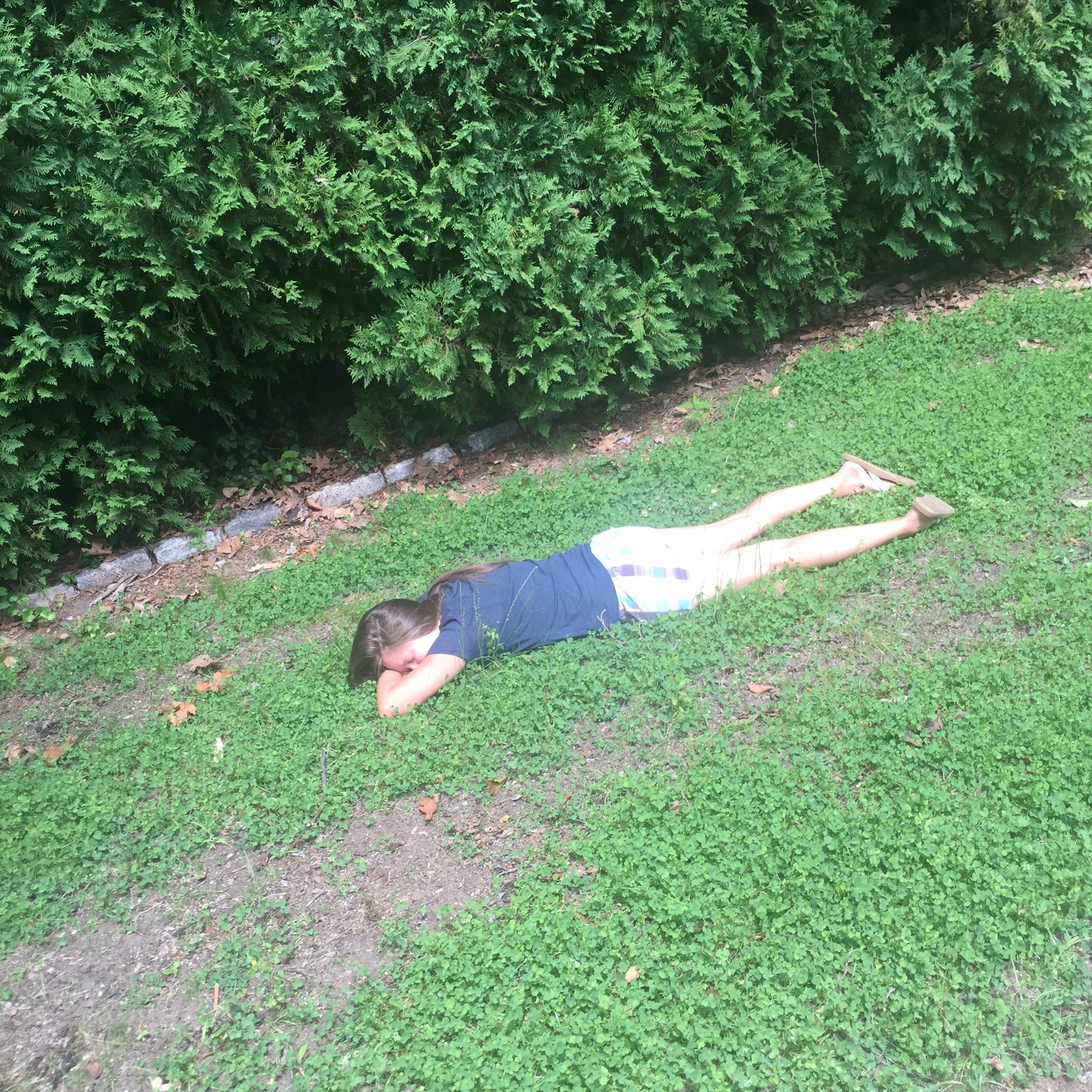And then they came to see me in July...of all the pictures on my phone this is my absolute favorite. My sister napping in our backyard.