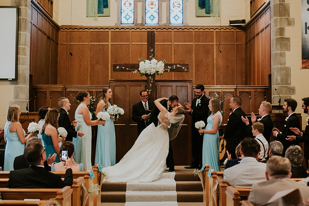 Edgebrook Covenant Church Wedding - Liller Photo - Milwaukee Wedding Photographer - First Kiss Dip