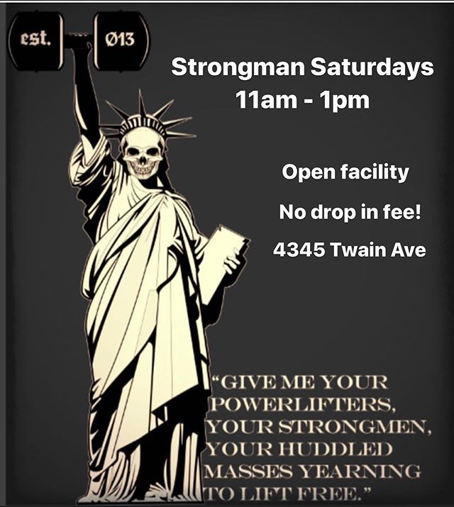 It's back!!! 😏 - Tomorrow 8/3 we will be kicking off Strongman Saturdays 11am to 1pm in our new location at 4345 Twain Ave. Absolutely zero drop in fee. Everyone is welcome to join the fun! - #deadweightstrength #gym #powerlifting #strongman #crew #training #motivation #sandiego #strong