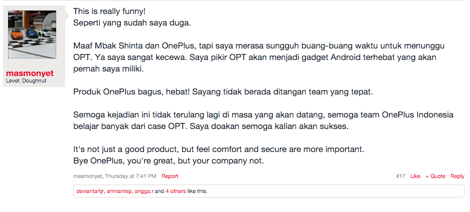 From their own OnePlus Forum
