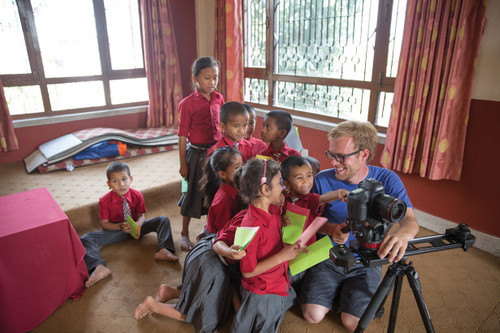 John Sellers with Letters in Motion in Nepal